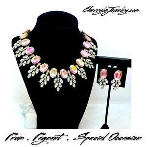 Cherryl's Jewelry - Prom Bridal Aurora Borealis Crystal Necklace Set